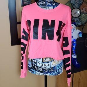 PINK VS HOT PINK & BLACK LONG SLEEVE CROPPED TOP